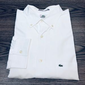 Lacoste Solid White Oxford Shirt XL or 46